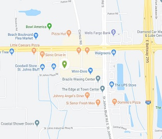 St. Johns Bluff location map, located at the corner of Beach Blvd. & St. Johns Bluff Rd