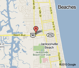 Jacksonville Beach location map, located 12 blocks west of the ocean on Beach Blvd