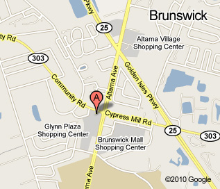 Brunswick location Map, located at the corner of Altama and Community Road, behind McDonald's