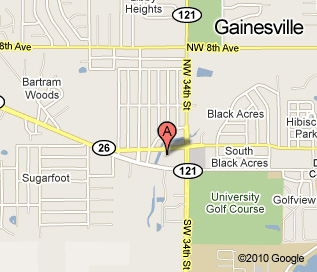 Gainesville location map, located at the corner of 34th and West University Avenue, behind PDQ