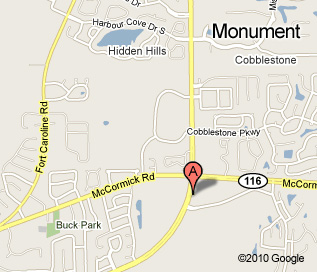 Monument Road location map, located at the corner of Monument and McCormick, behind Walgreens