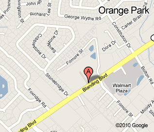 Orange Park location map, located at the corner of Blanding and Filmore
