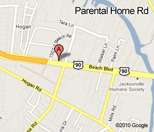 Parental Home Road location map, located at the corner of Parental Home and Beach Blvd