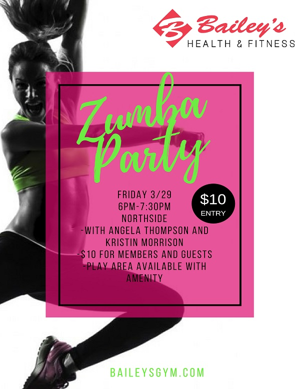Flyer advertising Zumba Party Master Class at Northside location March 29th 6PM to 7:30PM, $10.00 entry