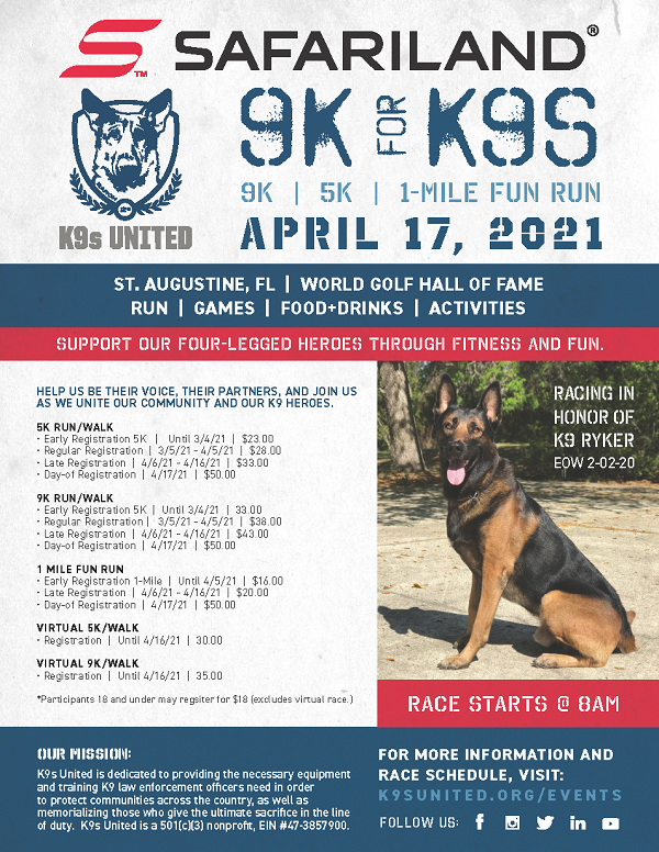 Support K9s United. Benefit run on April 17th at 8AM at the World Golf Hall of Fame.