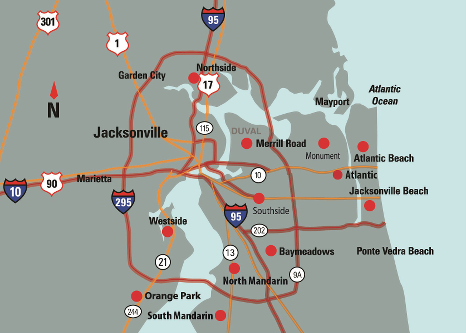 Map image of Jacksonville Area Locations