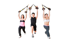 3 people doing TRX