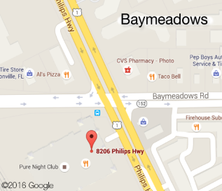 Baymeadows location map, located at the corner of Baymeadows Road and Philips Highway, behind Scan Design